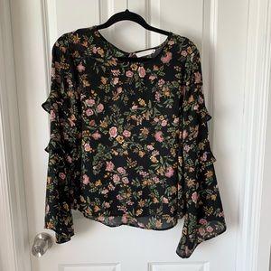 Lush floral ruffle long sleeve top L